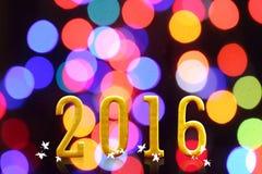 het jaar van 2016 op vaag bokeh licht Royalty-vrije Stock Afbeelding