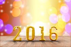 het jaar van 2016 in perspectiefhout met onduidelijk beeld bokeh muur en houten Royalty-vrije Stock Foto's