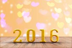 het jaar van 2016 in perspectiefhout met onduidelijk beeld bokeh muur en houten Royalty-vrije Stock Foto