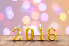 het jaar van 2016 in perspectiefhout met onduidelijk beeld bokeh muur en houten Stock Afbeeldingen