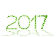 het jaar van 2017 van mooie groene bladeren wordt gemaakt isoleert op witte rug die Stock Afbeelding