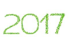 het jaar van 2017 van mooie verse groene bladeren wordt gemaakt dat isoleert op whit Stock Afbeeldingen