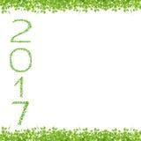 het jaar van 2017 van mooie verse groene bladeren wordt gemaakt dat isoleert op whit Stock Fotografie