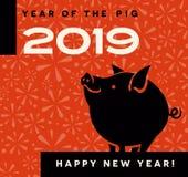 het jaar van 2019 van het varkensontwerp met gelukkig weinig varken status stock illustratie