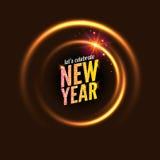 het jaar vector van achtergrond 2017 nieuw gloeiend cirkelkader Licht abstract behang Gelukkige de uitnodigingskaart van de Nieuw Stock Illustratie