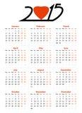 het jaar vectorkalender van 2015 Stock Afbeelding