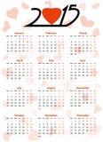 het jaar vectorkalender van 2015 Stock Afbeeldingen
