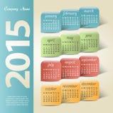 het jaar vectorkalender van 2015 Royalty-vrije Stock Afbeeldingen
