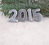 het jaar zilveren cijfers van 2015 Stock Afbeelding