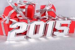 het jaar zilveren cijfers van 2015 Stock Afbeeldingen