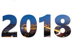 het jaaraantal van 2018 met de achtergrond van nachtvladivostok Royalty-vrije Stock Afbeeldingen