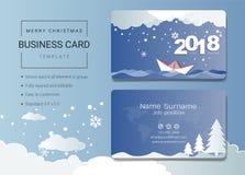 het jaaradreskaartje van 2018 gelukkig nieuw of van de naamkaart malplaatje Stock Afbeelding