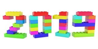 Het jaarconcept bouwt van kleurrijke stuk speelgoed bakstenen vector illustratie