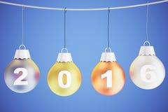 het jaarconcept van 2016 met de ballen van de Kerstmisboom op de kabel Royalty-vrije Stock Foto's