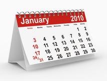 het jaarkalender van 2010. Januari Royalty-vrije Stock Foto's
