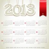 het jaarkalender van 2013 met lint Stock Foto