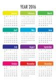 het jaarkalender van 2016 Royalty-vrije Stock Afbeelding