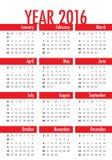 het jaarkalender van 2016 Stock Afbeelding