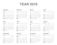 het jaarkalender van 2016 Royalty-vrije Stock Foto's