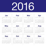 het jaarkalender van 2016 Stock Afbeeldingen