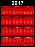 het jaarkalender van 2017 Stock Afbeelding
