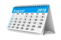 het jaarkalender van 2018 3D illustratie van August Isolated Stock Foto's