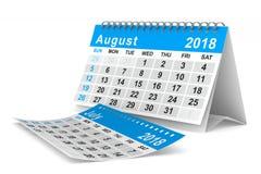 het jaarkalender van 2018 3D illustratie van August Isolated Stock Afbeelding