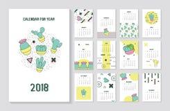 Het Jaarkalender van Memphis Style Abstract 2018 met Geometrische Elementen Stock Fotografie
