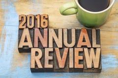 het jaarlijkse overzicht van 2016 in houten type Royalty-vrije Stock Fotografie