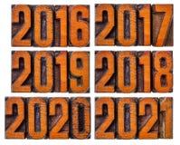 het jaarreeks van 2016, van 2017, van 2018, van 2019, van 2020 en van 2021 Stock Foto