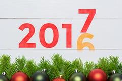 het jaarverandering van 2016 tot 2017 Het concept van het nieuwjaar Stock Afbeelding