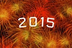 het jaarviering van 2015 met vuurwerk Stock Afbeeldingen