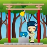 Het Japanse Bidden van het Meisje Stock Foto's