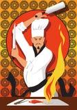 Het Japanse chef-kok koken Stock Afbeelding