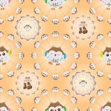 Het Japanse gelukkige naadloze patroon van de uilcirkel Stock Afbeeldingen
