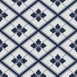 Het Japanse geometrische patroon van marine witte bloemen royalty-vrije illustratie
