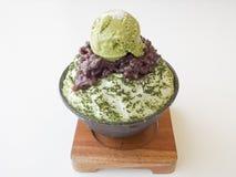 Het Japanse groene dessert van het theeijs Stock Afbeelding