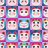 Het Japanse hoofd naadloze patroon van poppenmaneki Neko Stock Foto