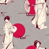 Het Japanse naadloze patroon van de Geisha Stock Fotografie