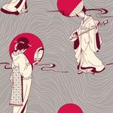 Het Japanse naadloze patroon van de Geisha Royalty-vrije Stock Afbeeldingen