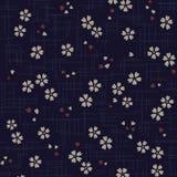 Het Japanse patroon van de kersenbloesem op blauwe achtergrond royalty-vrije illustratie