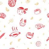 Het JAPANSE PATROON van VOEDSELsushi met broodjes en garnalen De rode achtergrond van de krabbelschets vector illustratie