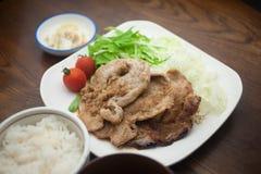 Het Japanse Varkensvlees Shogayaki van de Keuken Royalty-vrije Stock Afbeeldingen