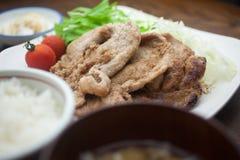 Het Japanse Varkensvlees Shogayaki van de Keuken Royalty-vrije Stock Fotografie