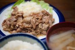 Het Japanse Varkensvlees Shogayaki van de Keuken Stock Foto