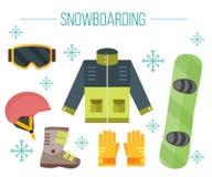 Het jasje van het Snowboardmateriaal, laarzen, helm, beschermende brillen, handschoenen Royalty-vrije Stock Foto's