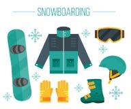 Het jasje van het Snowboardmateriaal, laarzen, helm, beschermende brillen, handschoenen Royalty-vrije Stock Fotografie