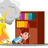 Het jong geitjemeisje beklimt in de Kleren van de Kabinetsplank aan Huid van Rook en Brandvector Geïsoleerdeo illustratie vector illustratie