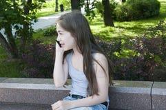 Het jonge aantrekkelijke meisje spreekt om op bank te telefoneren Het park van de zomer Glimlach foto Stock Fotografie