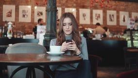 Het jonge aantrekkelijke meisje zit in een comfortabele koffie en gebruikt een mobiele telefoon stock footage